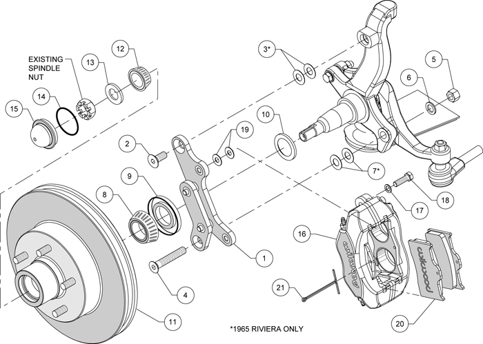 WILWOOD DISC BRAKE KIT,FRONT,61-65 BUICK,11.88