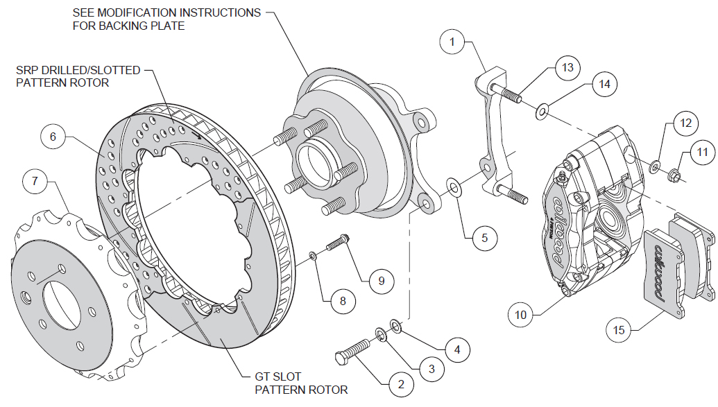 WILWOOD DISC BRAKE KIT,REAR,FITS 03-13 NISSAN 350Z,370Z