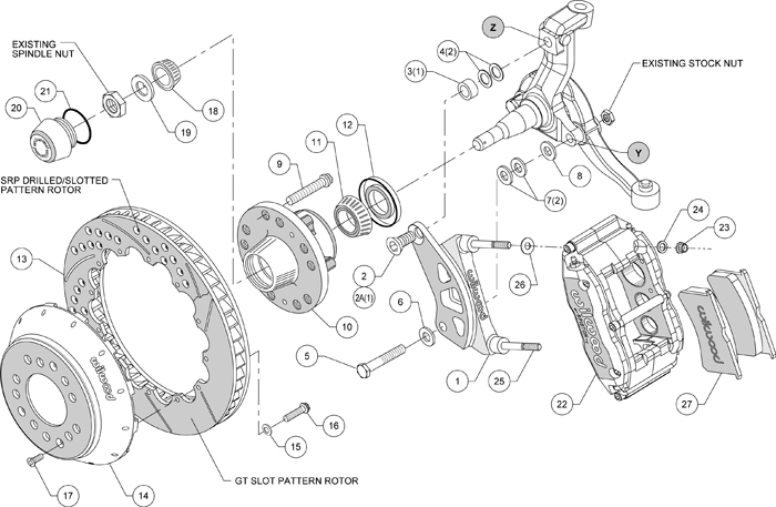 WILWOOD DISC BRAKE KIT,67-69 CAMARO,13