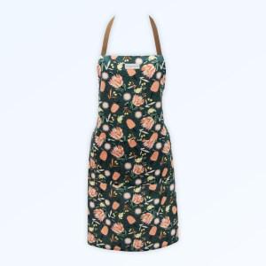 Kitchen apron with the Aussie Flora design fabric in khaki