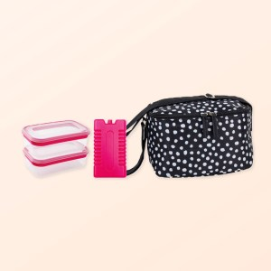Dotty design 4pce lunch set with insulated bag, two plastic containers and ice block
