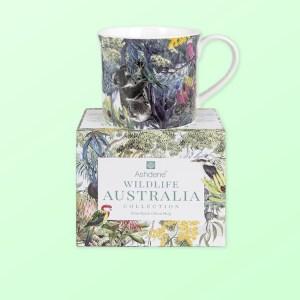 Wildlife Australia mug sitting on top of its gift box