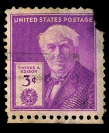 Francobollo porpora emesso da United State Postage nel 1947 per commemorare il 100° anniversario della nascita di Thomas Edison