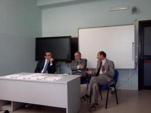 Un flash della conferenza stampa: Vincenzo Gallelli, Gerardo Pagano e Franco Condò