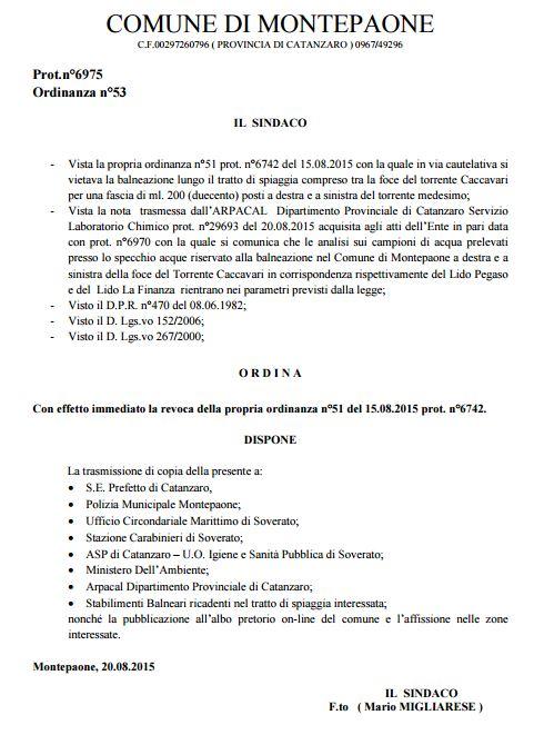 ordinanza revoca divieto di balneazione 20 ago