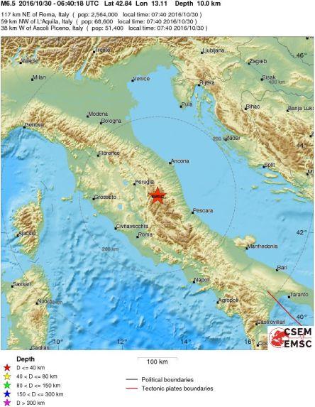 Mappa Sisma 30/10/2016 Italy - Central Italy - EMSC