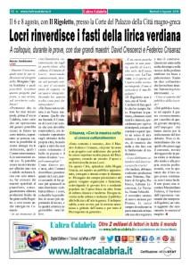 Locri, dopo il successo verdiano, nasce il Festival dell'Opera
