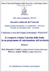 """Soverato – Incontro """"Le scoperte a Santa Caterina dello Ionio"""""""