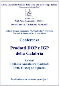 """Soverato – Venerdì 4 dicembre conferenza """"Prodotti DOP e IGP della Calabria"""""""