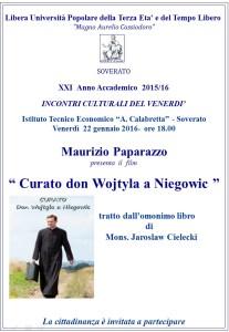 """Soverato – Venerdì 22 Gennaio presentazione film """"Curato don Wojtyla a Niegowic"""""""