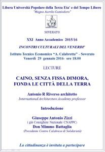 """Soverato – Venerdì 29 Gennaio lecture """"Caino, senza fissa dimora"""""""