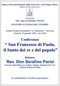"""Soverato – Conferenza """"San Francesco di Paola, il Santo dei re e del popolo"""""""