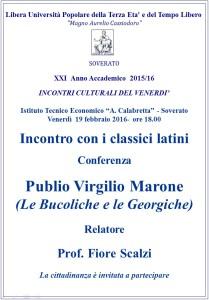 """Soverato – Venerdì 19 Febbraio conferenza """"Publio Virgilio Marone"""""""
