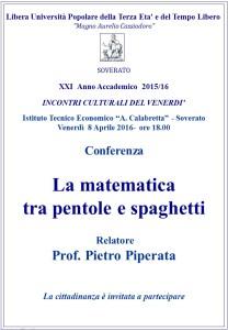 """Soverato – Venerdì 8 Aprile conferenza """"La matematica tra pentole e spaghetti"""""""