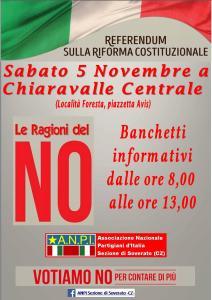 Sabato 5 novembre iniziativa sul referendum dell'ANPI di Soverato a Chiaravalle.