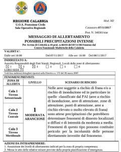 Allerta Meteo Protezione Civile Calabria per possibili precipitazioni intense