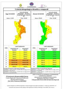 """Maltempo – Per domani allerta meteo """"Gialla"""" della Protezione Civile Calabria"""
