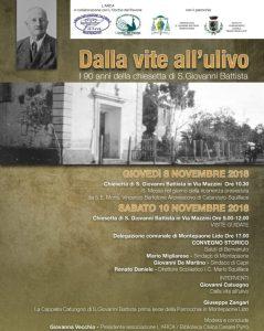 """A Montepaone l'iniziativa: """"Dalla vite all'ulivo: i 90 anni della Chiesetta di San Giovanni Battista"""""""