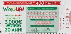 Vinti in Calabria 3000,00 € al mese per 20 anni con Win for Life Classico