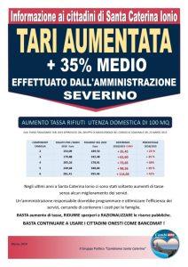 Aumento delle tariffe Tari per le famiglie di Santa Caterina dello Ionio