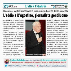 Catanzaro – Giornalismo in lutto per la scomparsa del decano Giuseppe D'Agostino