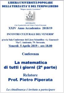 """Soverato – Venerdì 5 Aprile la conferenza """"La matematica di tutti i giorni"""""""