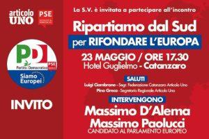 Giovedì 23 maggio chiusura di campagna elettorale di Articolo Uno con Massimo D'Alema