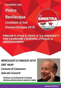 """Catanzaro – Mercoledì 15 maggio incontro con Pietro Bevilacqua candidato con la lista """"La Sinistra"""""""