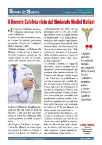 Sanità, il Decreto Calabria visto dal Sindacato Medici Italiani