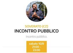 Salvini a Soverato, confermato l'incontro di domani sera sul lungomare