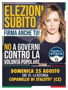Fratelli d'Italia: a Stalettì mobilitazione contro i governi dell'inciucio