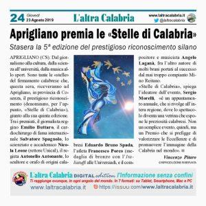 """Aprigliano premia le """"Stelle di Calabria"""" 2019"""
