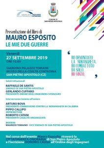 Il 27 settembre a San Pietro Apostolo la presentazione del libro del testimone di giustizia Mauro Esposito