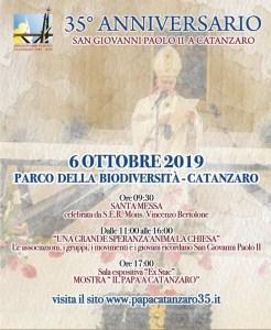 Domenica 6 ottobre verranno celebrati i 35 anni della visita a Catanzaro di Papa Giovanni Paolo II
