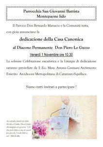 Montepaone Lido, al Diacono Don Piero Lo Guzzo la dedicazione della Casa Canonica
