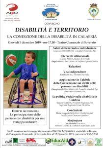 """Giovedì 5 Dicembre a Soverato il convegno """"Disabilità e territorio"""""""