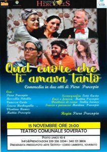 """Teatro Soverato – Venerdì 15 Novembre lo spettacolo """"Quel cuore che ti amava tanto"""""""