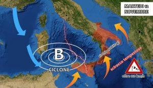 Maltempo – Ciclogenesi esplosiva colpirà la Calabria, allerta nubifragi e scirocco oltre 110 km/h