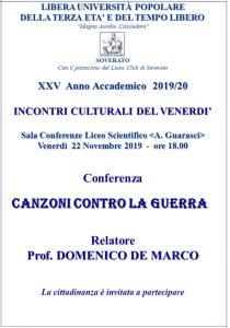 """Soverato – Venerdì 22 Novembre la conferenza """"Canzoni contro la Guerra"""""""