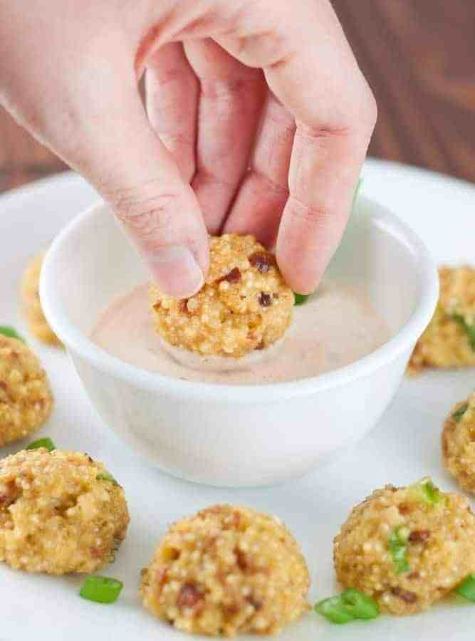 Cheesy Bacon Quinoa Bites Recipe  - These delicious and protein-packed quinoa bites are super easy to throw together and make for a perfect game day appetizer or make-ahead lunch.