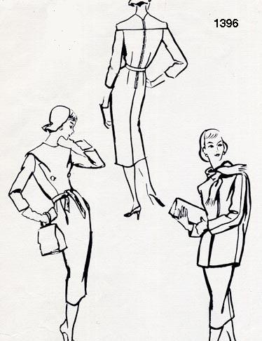 1950s RARE PATOU FIGURE HUGGING DRESS, JACKET PATTERN