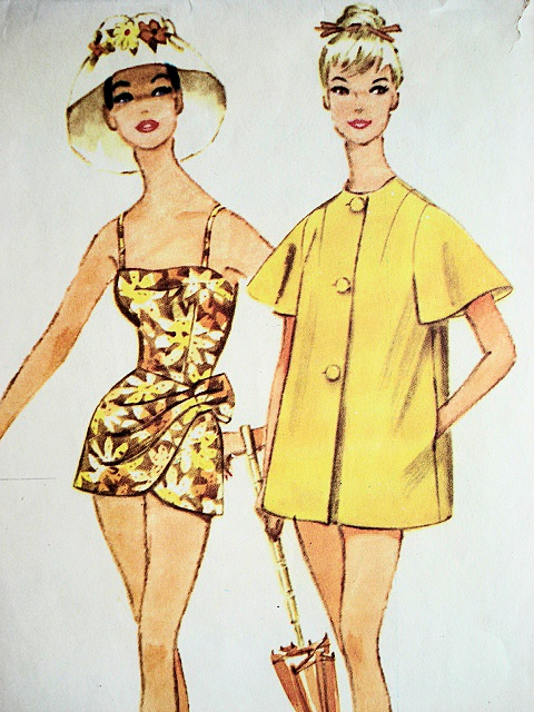 1960 SARONG STYLE BATHING SUIT BEACH COAT COVER UP PATTERN McCALLS 5455