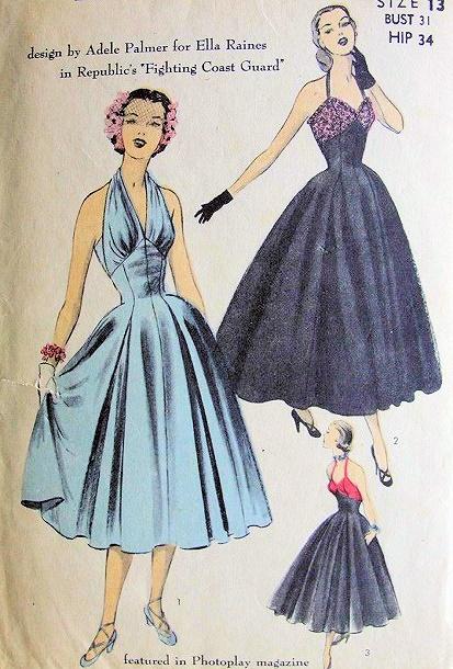 RARE 1950s EVENING HALTER DRESS PATTERN DESIGNER ADELE