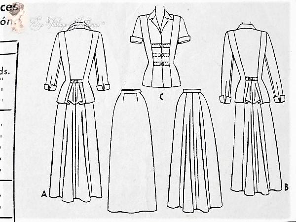 1940s BEAUTIFUL Suit Dress Pattern McCALL 7697 Figure