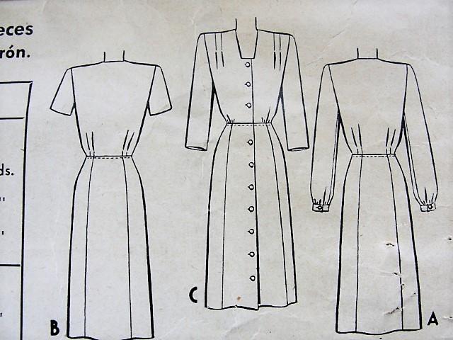 1940s STYLISH Front Button Dress Pattern McCALL 5629 WW II