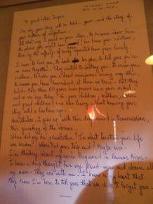 Lettre provenant d'un ancien fort ayant abrité beaucoup de juifs pendant l'occupation nazie ainsi que de prisonniers politiques pendant l'ère soviétique... Les mots parlent d'eux-même.