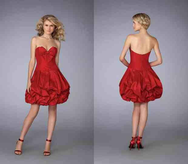 صور فساتين قصيرة باللون الأحمر للسهرة جميلة
