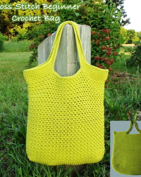Moss Stitch Beginner Crochet Market Bag