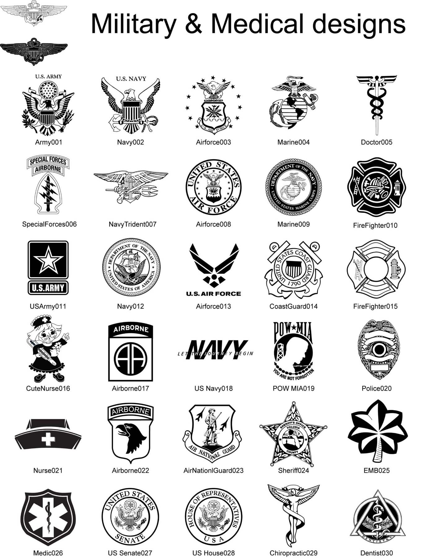 Personalized Engraved Military designs and patches Air