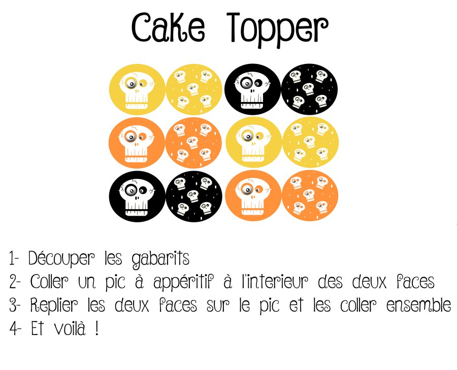 Décorations de table pour Halloween chez les So Workin'Girls. Cake et cupcake topper